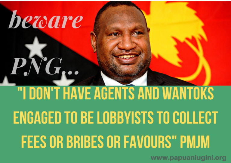 I DONT HAVE AGENTS AND WANTOKS ENGAGED TO BE LOBBYISTS TO COLLECT FEES OR BRIBES OR FAVOURS