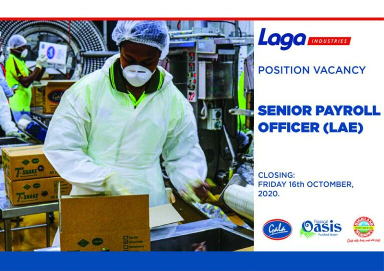 Position Vacant – Senior Payroll Officer of Laga Industry Limited in PNG