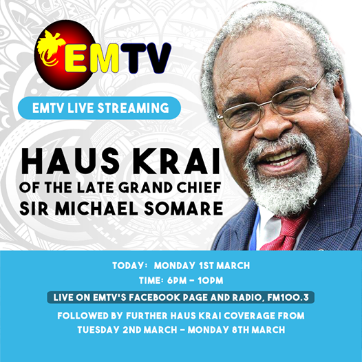 National 'Haus Krai' for Grand Chief Sir Michael Thomas Somare.