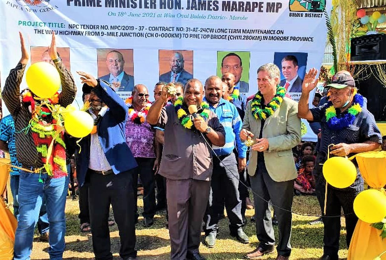 Prime Minister James Marape launches over K60 million worth of road projects in Morobe