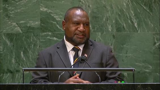 James Marape, papua new guinea Prime minister of Papua New Guinea addresses UN general debate