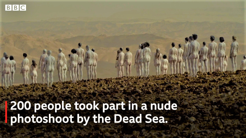 Hundreds of people have stripped naked by the Dead Sea in Israel